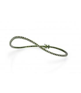 Pulsera en oro de primera ley con rodio verde y diamantes talla brillante verdes.