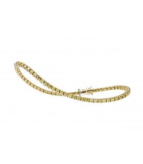Pulsera en oro amarillo de primera ley y diamantes talla brillante amarillos.