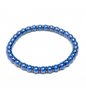 Pulsera Nature en plata de primera ley, cerámica azul y diamantes ice.