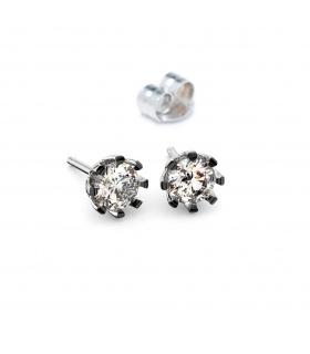 Pendientes de oro blanco de 1ª ley y diamantes talla brillante