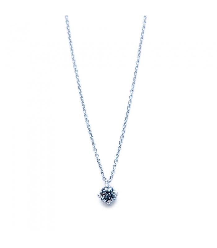 Colgante oro blanco 1ª ley con diamante talla brillante