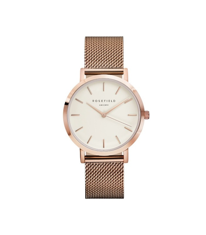 Reloj Rosefield The Mercer Blanco-Oro Rosa