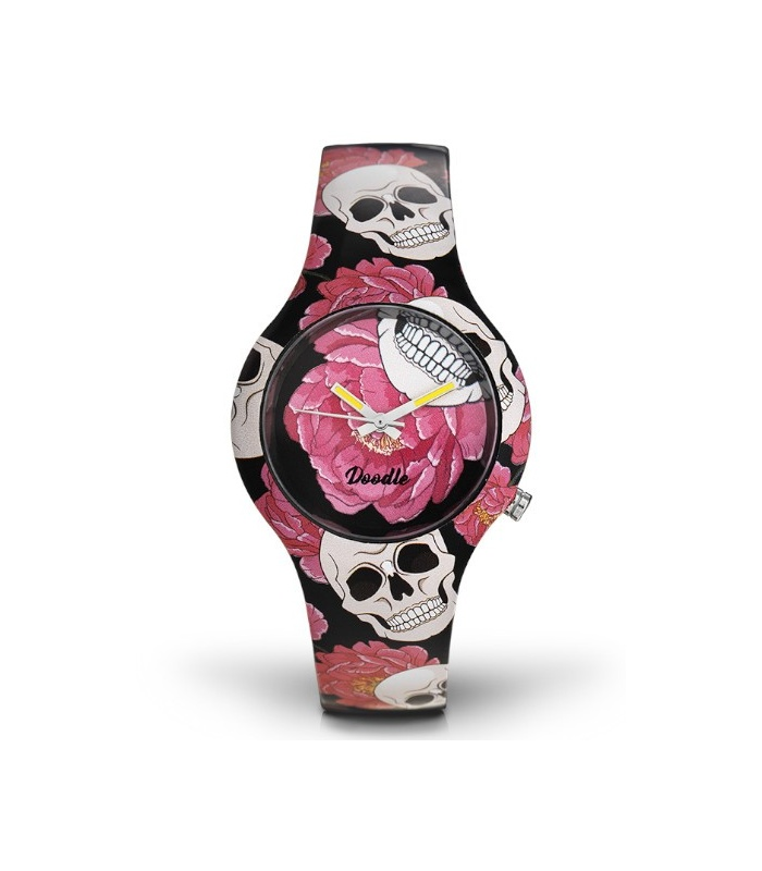 DOODLE WATCH FLOWERS AND SKULLS